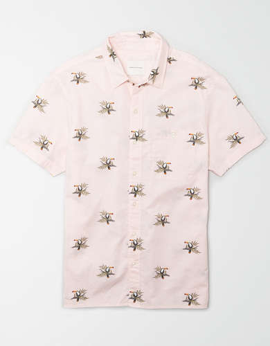 AE Short-Sleeve Toucan Print Button-Up Shirt