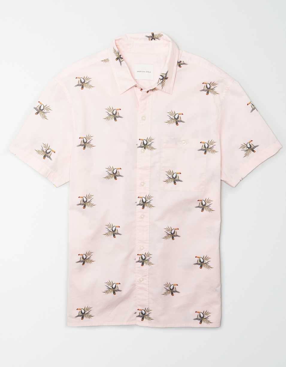 AE Toucan Print Short Sleeve Button-Up Shirt