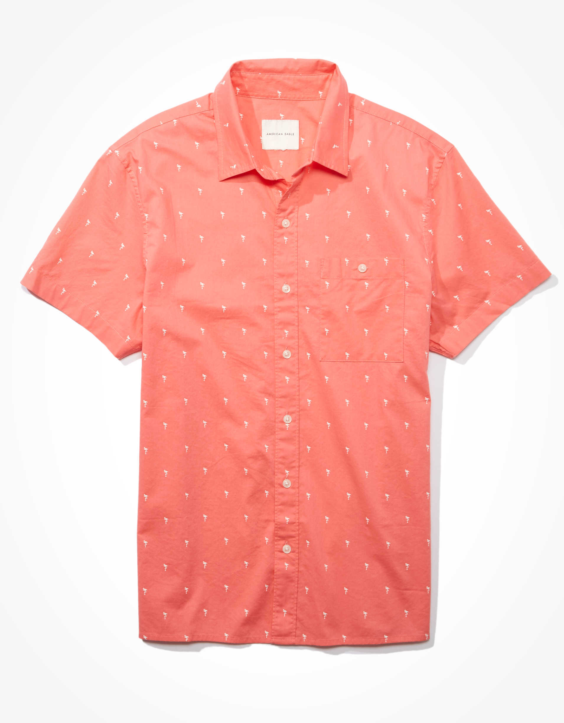 AE Short-Sleeve Printed Button-Up Shirt