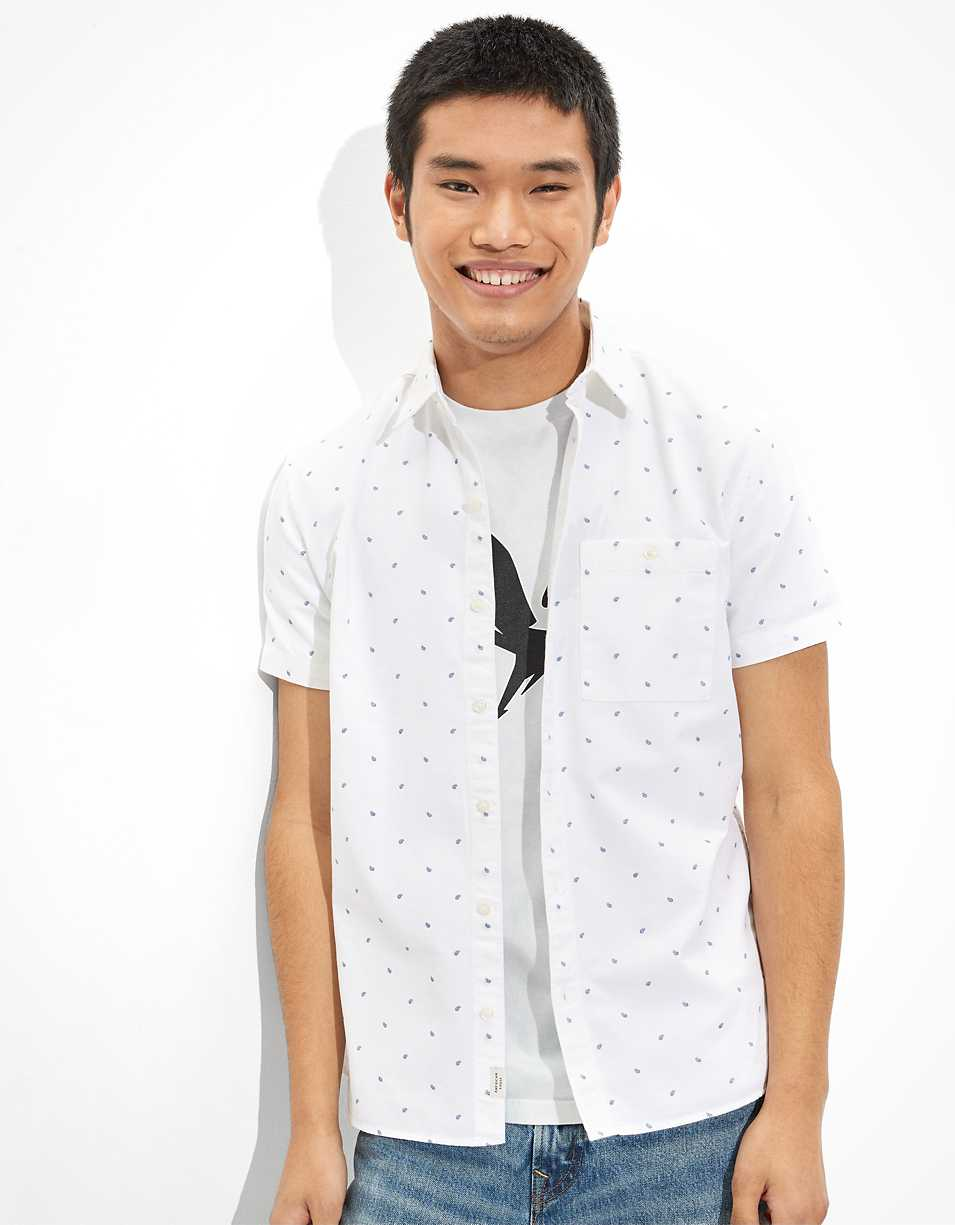 AE Printed Oxford Short Sleeve Button-Up Shirt
