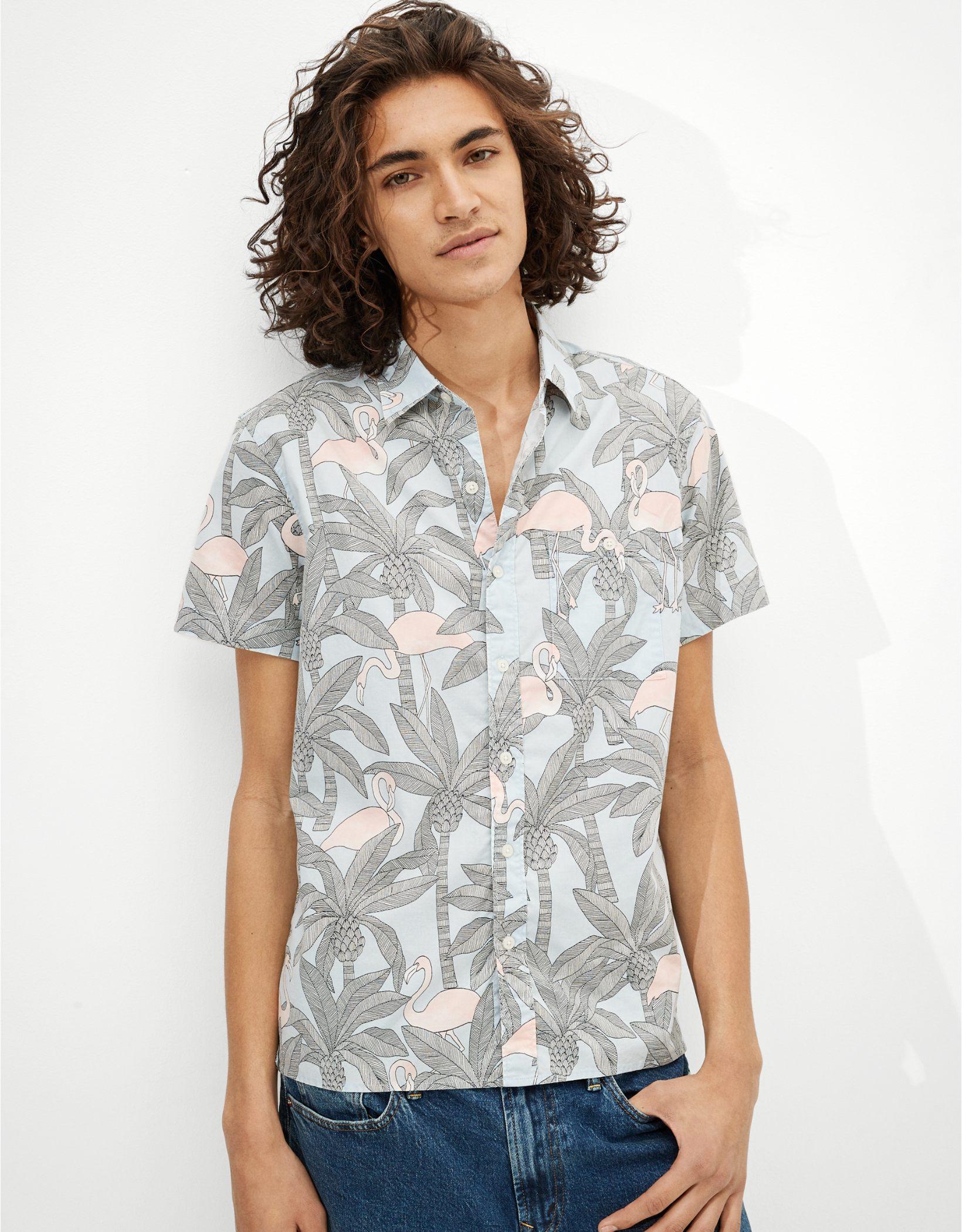 AE Hawaiian Short-Sleeve Button-Up Shirt