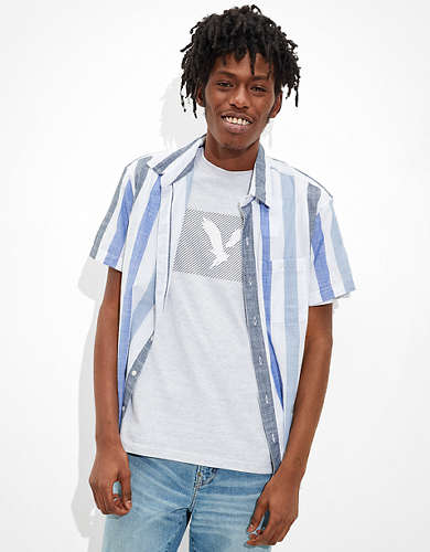 AE Striped Short-Sleeve Button-Up Shirt