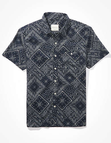 AE Bandana Short-Sleeve Button-Up Shirt
