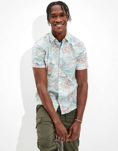 AE Floral Short-Sleeve Button-Up Shirt