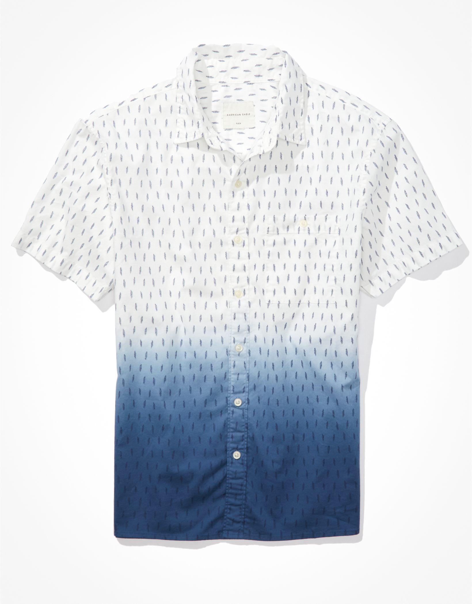 AE Dip-Dye Short-Sleeve Button-Up Shirt