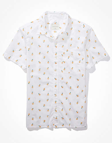 AE Printed Short-Sleeve Button-Up Shirt