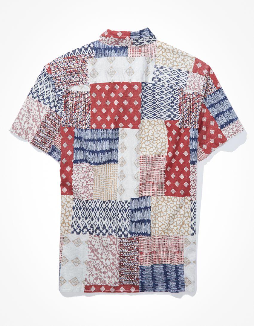 AE Plaid Short-Sleeve Button-Up Shirt