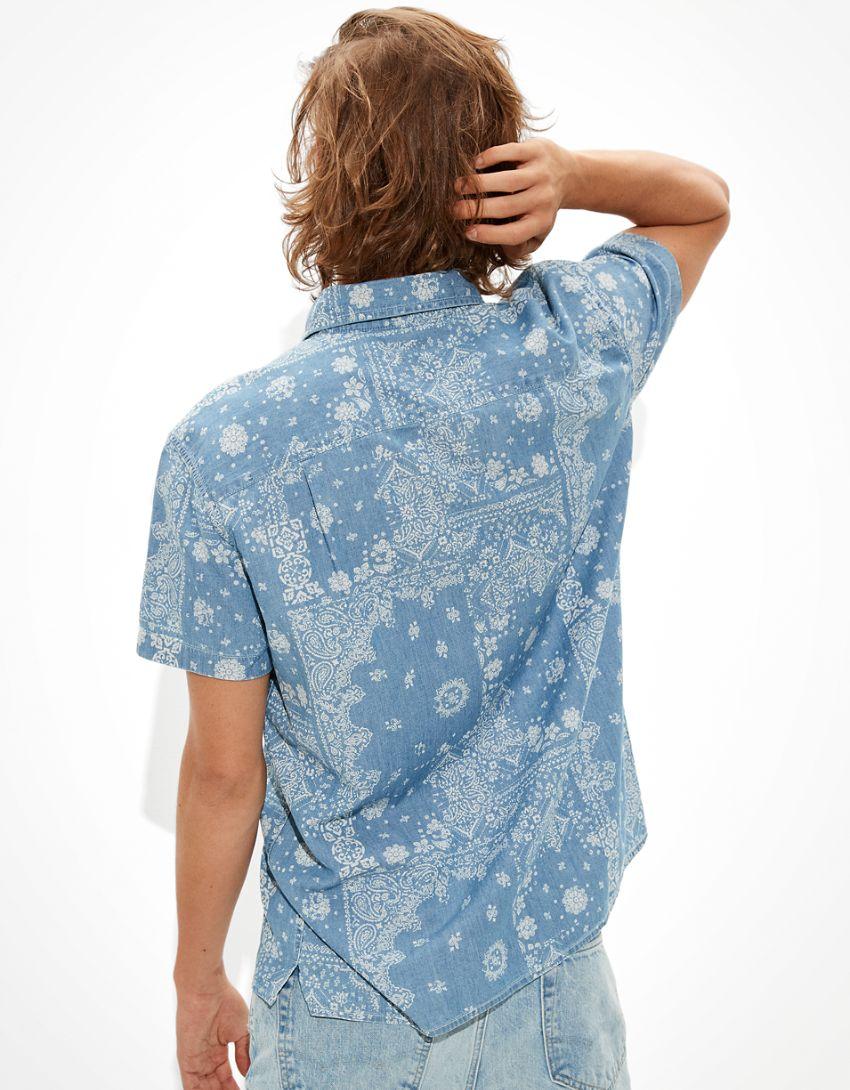 AE Denim Bandana Short-Sleeve Button-Up Shirt