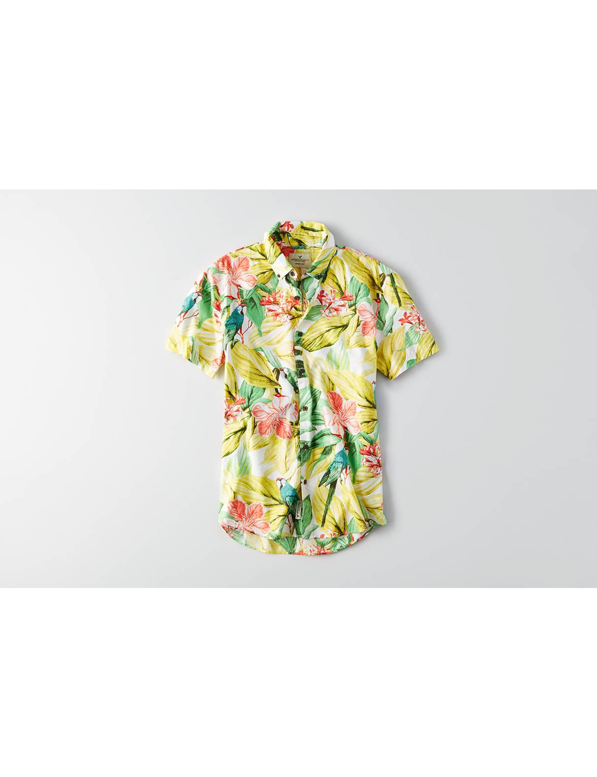 Display product reviews for AEO Short Sleeve Print Poplin Shirt
