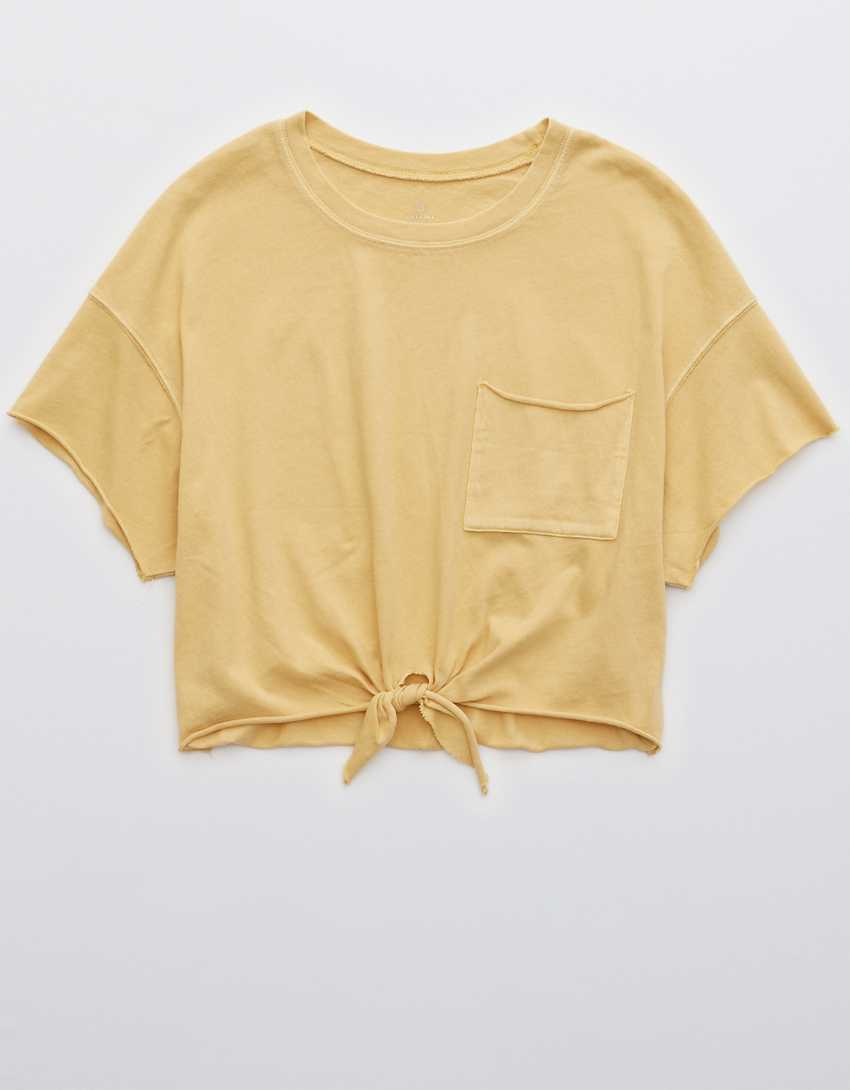 OFFLINE Tie Front Cropped T-Shirt