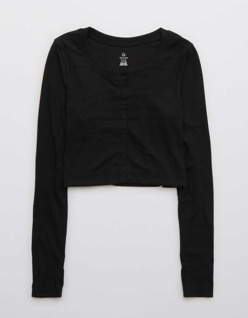 OFFLINE Ribbed Cropped Snap Cardigan