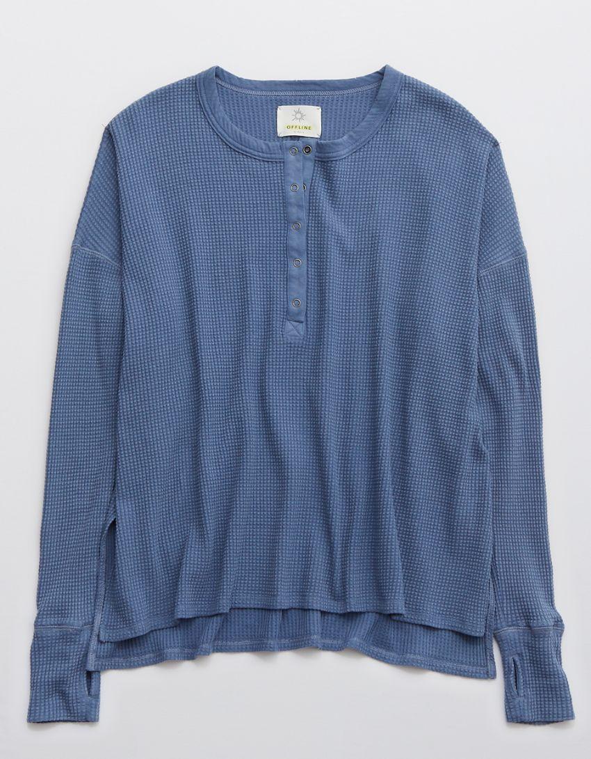 OFFLINE Way Back Waffle Henley Long Sleeve T-Shirt