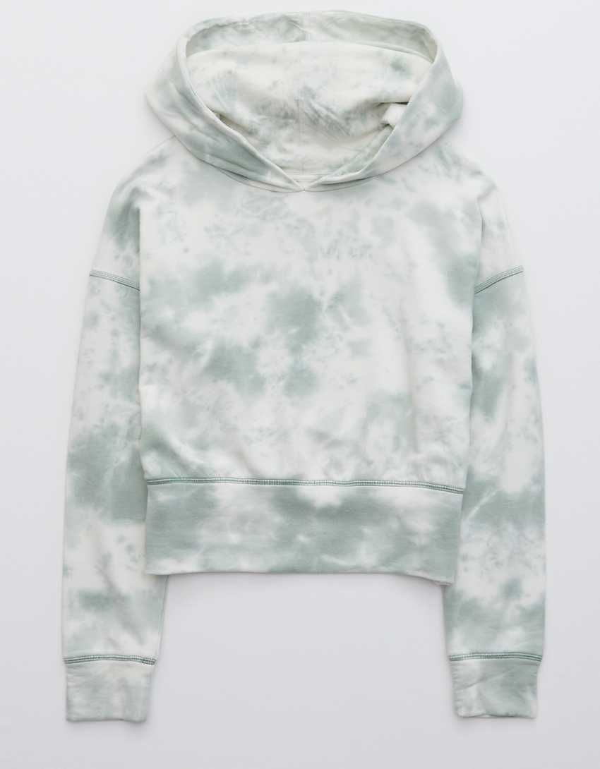 OFFLINE OTT Fleece Tie Dye Cropped Hoodie