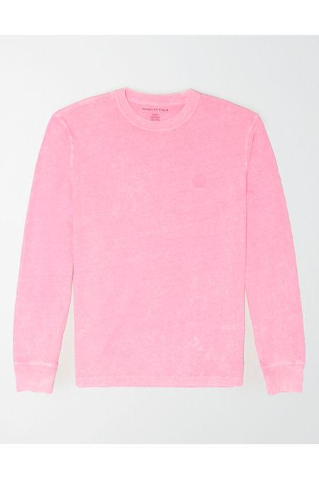 Vintage Sweaters, Retro Sweaters & Cardigan Ladies AE Long Sleeve Neon T-Shirt Mens Neon Pink S $14.97 AT vintagedancer.com