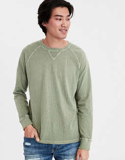 Ae Distressed Raglan Tee by American Eagle Outfitters