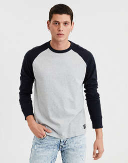 Ae Long Sleeve Color Block Raglan Tee by American Eagle Outfitters