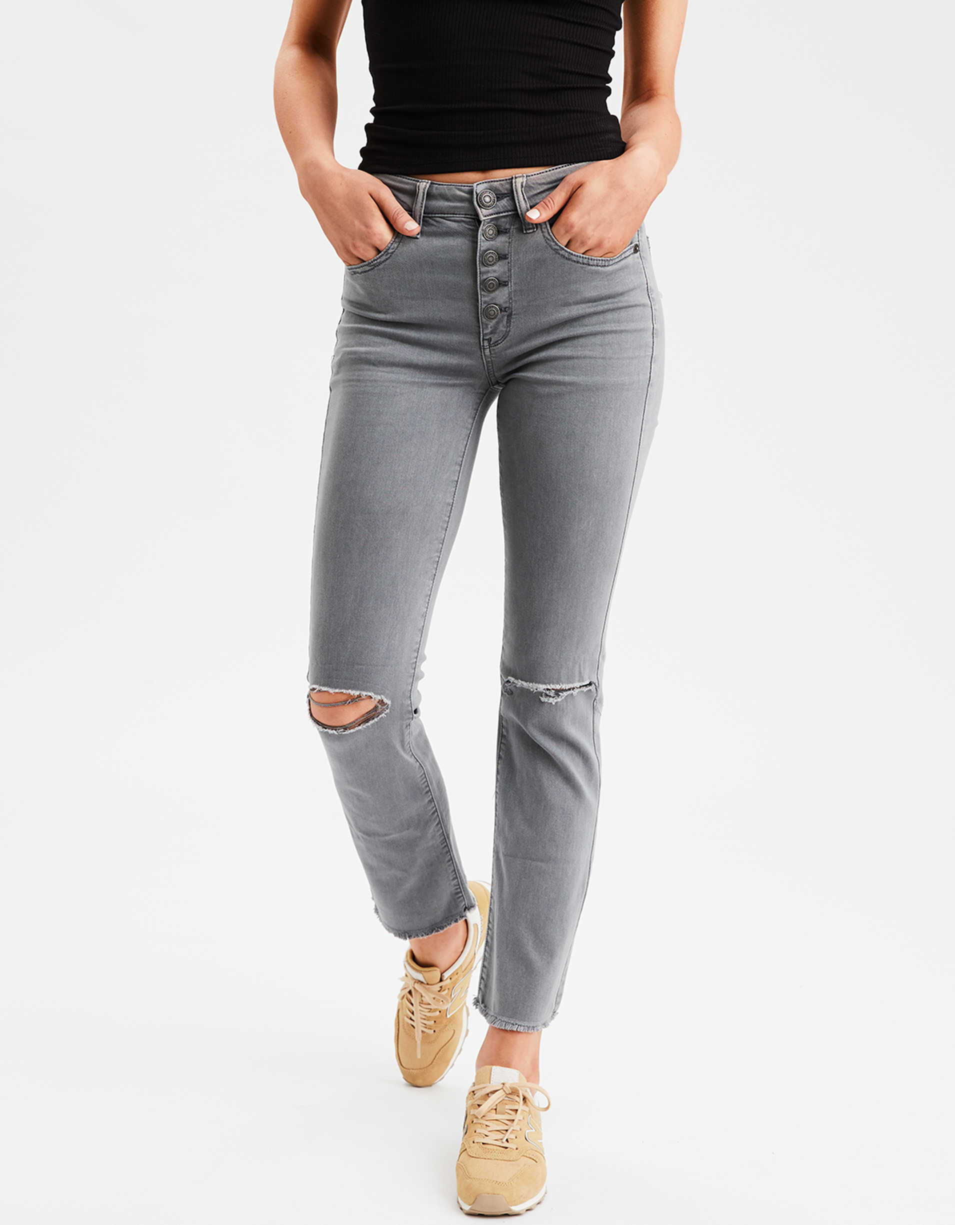 AE Ne(X)t Level High-Waisted Crop Flare Jean