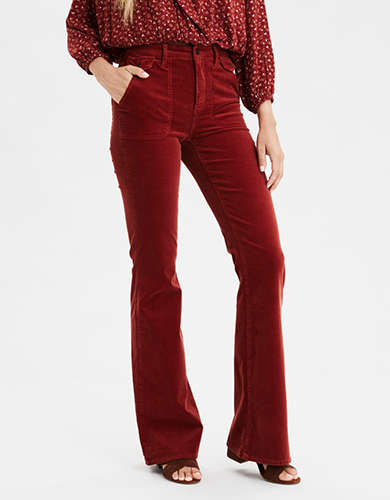 Super High-Waisted Corduroy Flare Pant