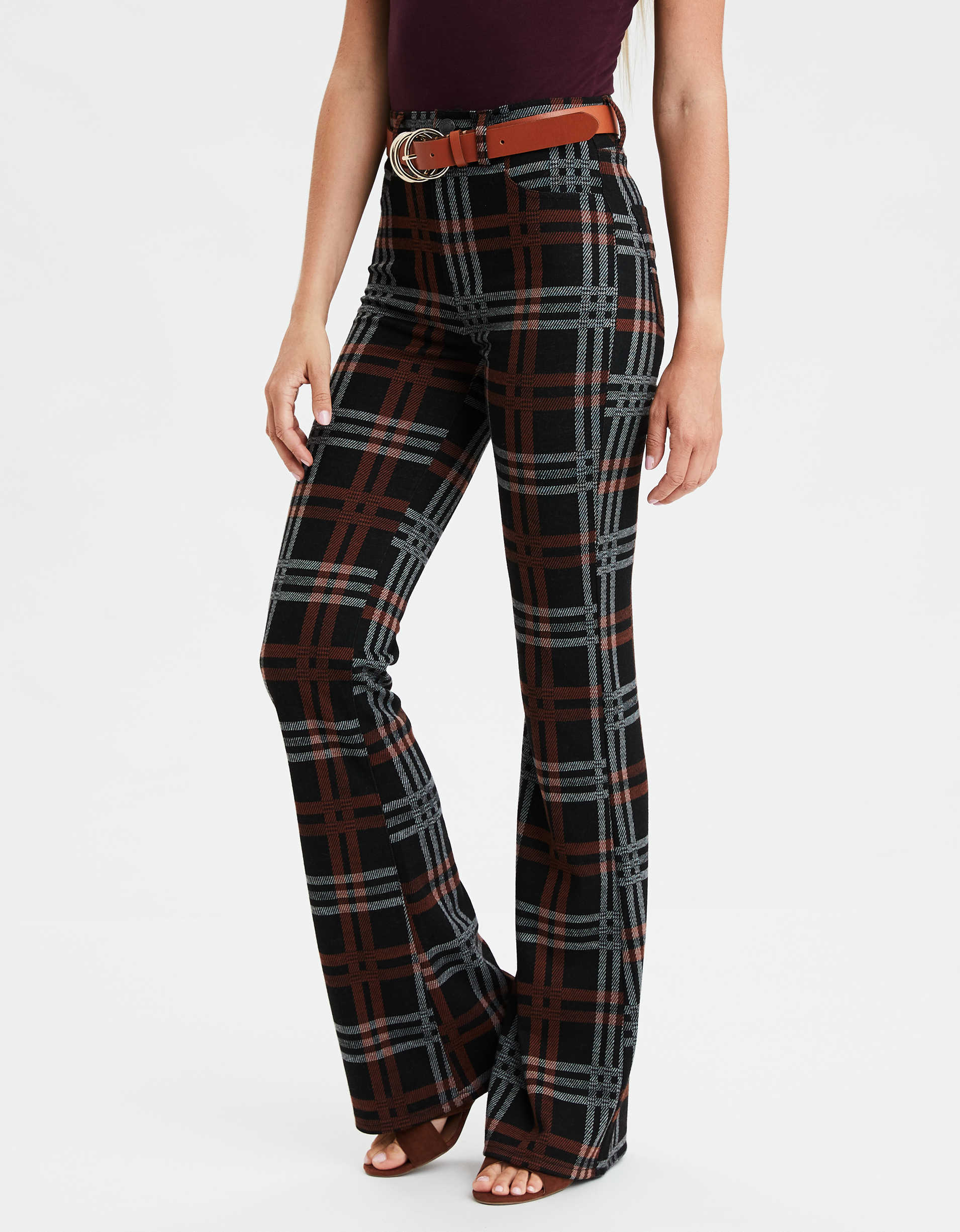 Super High-Waisted Plaid Flare Pant