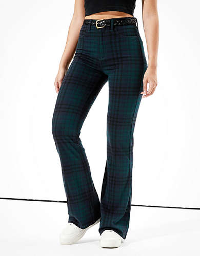 AE Super High-Waisted Plaid Flare Pant