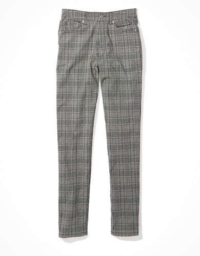 AE Stretch Plaid Mom Pant