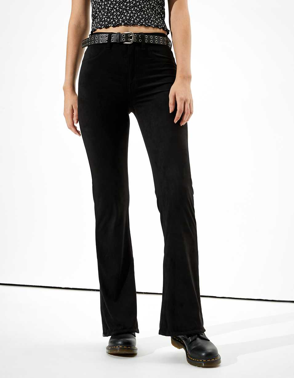 AE Super High-Waisted Suede Flare Pant