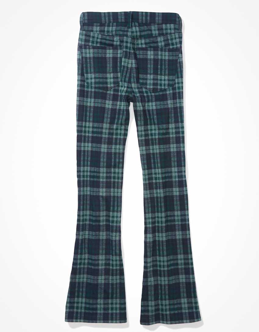 AE Stretch Plaid Super High-Waisted Flare Pant