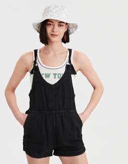 High-Waisted Soft Linen Short Overall