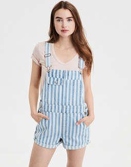 Ae High Waisted Tomgirl Denim Short Overall by American Eagle Outfitters