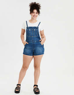 High-Waisted Denim Short Overall