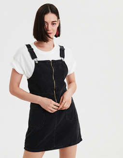 AE Zip Front Denim Dress Overall