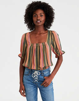 AE Striped Square Neck Top