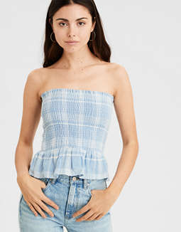 AE Plaid Smocked Tube Top