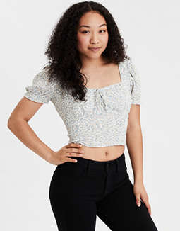 AE Printed Sweetheart Puff Sleeve Crop Top