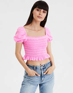 AE Neon Short Sleeve Smocked Top