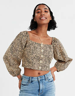 AE Square Neck Button Front Peasant Top