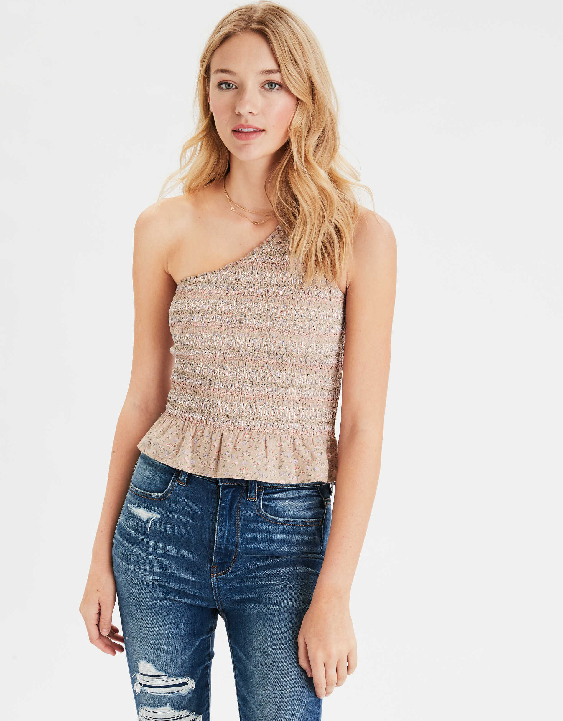AE Smocked One Shoulder Top