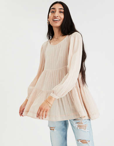 AE Long Sleeve Tiered Babydoll Top