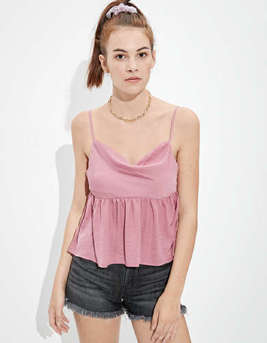 AE Silky Cowl Neck Babydoll Top