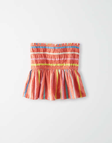 AE Striped Smocked Peplum Tube Top