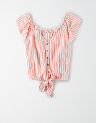 AE Tie Front Button-Up Blouse