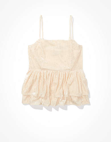 AE Velvet Tiered Babydoll Top