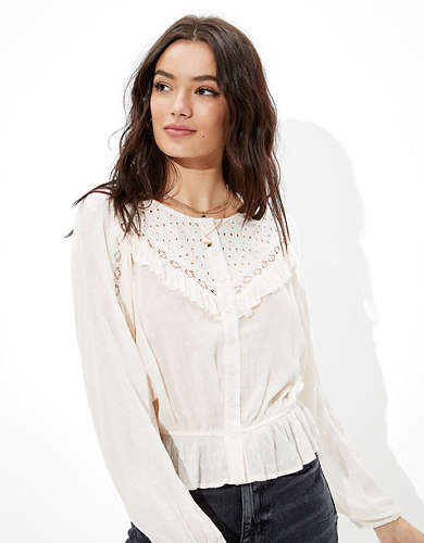 AE Lace Button-Up Top