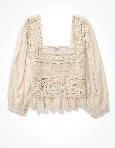 AE Crochet Smocked Blouse
