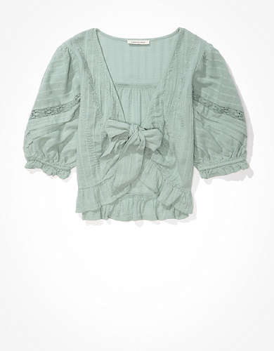AE Puff-Sleeve Tie-Front Blouse