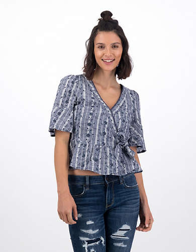 AE Ruffled Wrap Top
