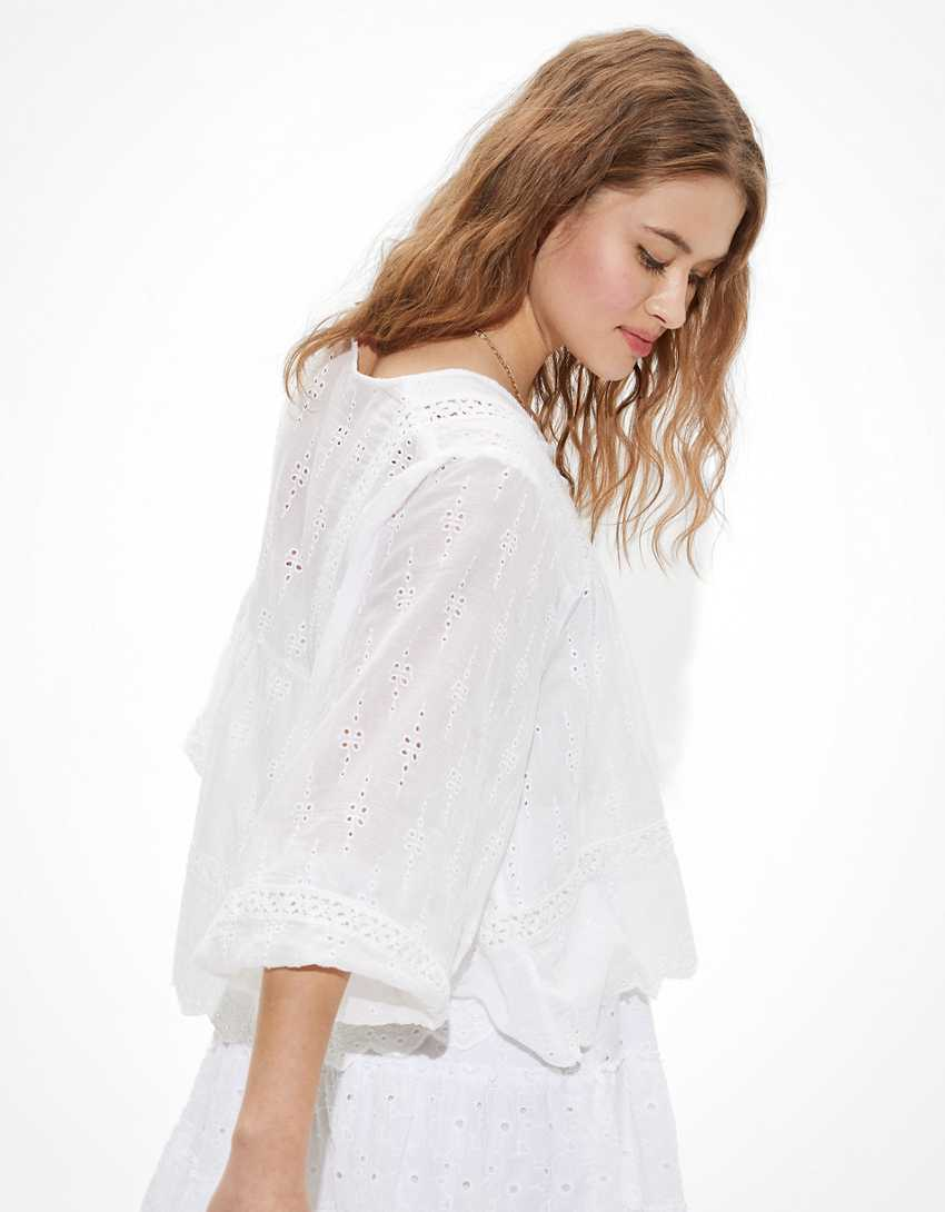 AE Solid Embroidered Blouse