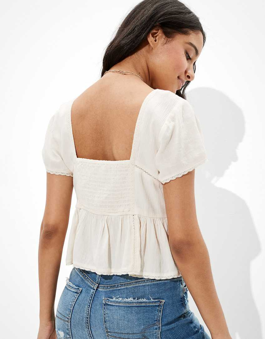 AE Cropped Embroidered Babydoll Top