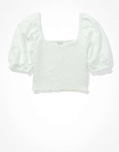 AE Solid Smocked Sweetheart Neck Top