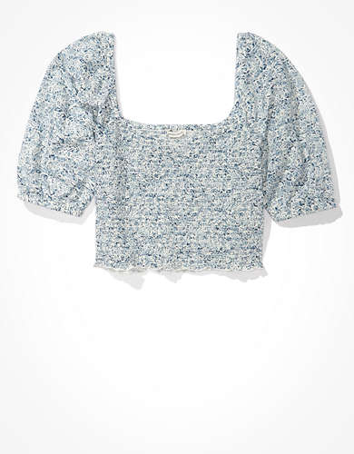AE Floral Smocked Sweetheart Neck Top